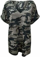 Womens Ladies Camouflage Grey V Neck Baggy Top Short Sleeve T Shirt Plus Size