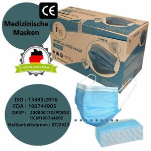 Medizinische 4lagige Maske Mundschutz Atemschutz Gesichtsschutz CE ISO Norm blau