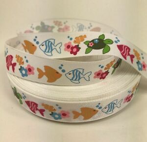 "By The Yard Cute 7/8"" Fish And Turtles Grosgrain Ribbon Lisa"