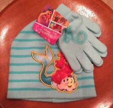 Disney Princess Ariel & Flounder Girls Hat & Glove Set One Size  Beanie Mermaid