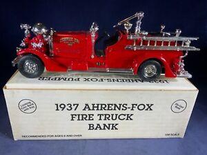 Y4-14 ERTL 1:30 SCALE DIE CAST BANK - 1937 AHRENS-FOX FIRE TRUCK - DYERSVILLE IA