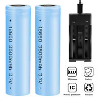 2 Pcs 18650 3500mAh 3.7V Li-ion Rechargeable Battery For Flashlight With Charger
