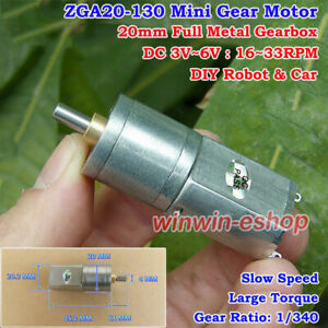 Micro 20mm Full Metal Gearbox Gear Motor DC 3V-6V 33RPM Slow Speed Robot Car