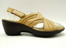 Clarks Artisan Tan Ruched Leather Adjustable Block Heel Sandals Shoes Womens 6 M