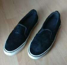 PULL & BEAR WOMENS BLACK WHITE FUR SLIP ON LOAFERS FLAT PUMPS SHOES SIZE UK 6 39