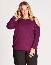 Autograph Plus Size 20 Purple L /Sleeve Cold Shoulder Top Fit Plus Size 24 BNWT