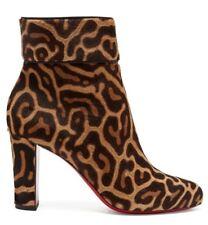 2e84914f5517 NIB Christian Louboutin Moulamax 85 Black Brown Leopard Heel Ankle Bootie  37.5
