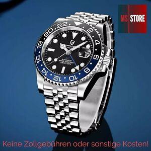 Pagani Design Automatik Uhr Schwarz Blau PD-1662 Herrenuhr Saphirglas NEU & OVP