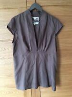 NOA NOA Ladies Mink Brown Empire Collarless V-neck Capped Sleeve Top UK14