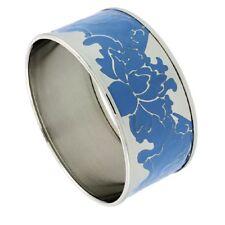 Stainless Steel Slip-On Bangle Bracelet w/ Enameled Floral Vine Pattern