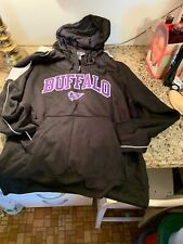 Buffalo Bisons Hooded Sweatshirt Size L Embroidered Logo Black White & Purple