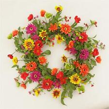 "New Spring Summer Bright Daisy Garden Flower Floral Wreath 23"""