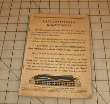 1927 Larger Styles Of Harmonicas Instruction Music Booklet - M.M. Cole Publ.