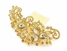 Gold Colour Bridal Bridesmaid Wedding Hair Comb Clip Rhinestone Diamante Prom
