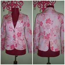"Womens "" Max Mara "" Sweet Pink Floral With Buffed Metal Bottons Blazer sz S/M"