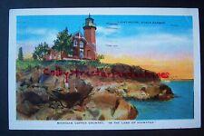 Light House EAGLE HARBOR Michigan Copper Country, HIAWATHA vintage postcard 1947