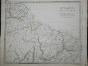 Hand Coloured c1845 Victorian SDUK Map of South America, Guayana, N Brazil - 132
