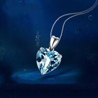 Heart Aqua Ocean Pendant 925 Sterling Silver Chain Necklace Womens Jewellery New