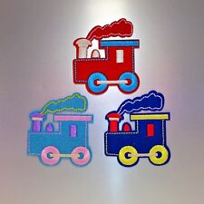 Cute Train Patch Set — Iron On Badge Embroidered Motif — Fun Kids Felt