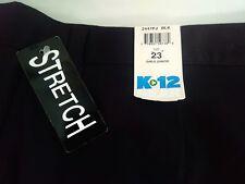 New K 12 Gear Black Flat Front School Uniform Shorts Girls/Juniors Plus Size 23