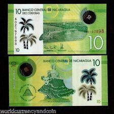 NICARAGUA 10 CORDOBA 2015 BUNDLE POLYMER SHIP UNC LATINO BANK NOTE LOT 100 PCS