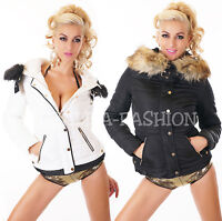 Wow Sexy Ladies Winter Coat Quilted Jacket Short Fur Faux Fur White Black S-XL
