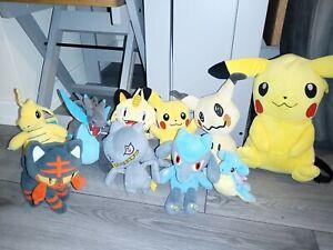9 Pokémon Tomy Nintendo Plush Toy Bundle & Pikachu backpack, meowth etc