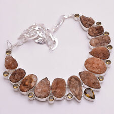 925 Sterling Silver Overlay Multi Gemstone Statement Necklace Jewelry PN849