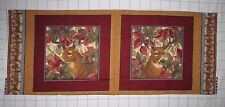 DEER Buck STAG Doe HUNTING ~ACORN Leaves Pillow Quilt Square Fabric Panel OOP