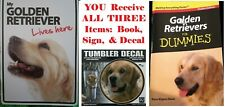 "My Golden Retriever Live Here""Magnet Steel Sign""+For Dummies""Book+Tumbler Decal"