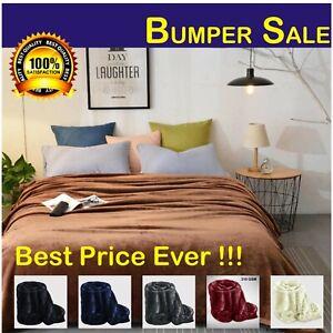 Fleece Blanket Large Sofa Throw  Warm Faux Fur Soft Mink Single Double & King