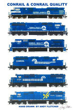 "Conrail & Conrail Quality Locomotives 11""x17"" Poster by Andy Fletcher signed"