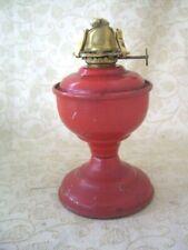 RED BRITISH SMALL METAL OIL LAMP, SINGLE WICK BURNER ~ NO GLASS CHIMNEY