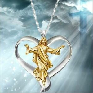 Womens Fashion Jewelry Jesus Christian Prayer Necklace Silver Color