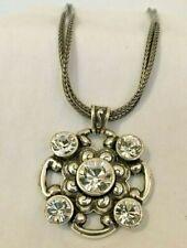 BRIGHTON Swarovski Multi-Crystal Flower Pendant on Two  Strand 16 inch necklace