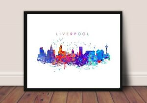 Liverpool Skyline Print Picture Poster Cityscape Art Home Decor A4 Unframed.