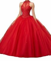 High Neck Appliques Ball Gown Formal Pageant Prom Quinceanera Dresses Pink Red