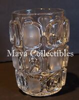 Vintage Geometric Windows Modernist Art Glass Vase Clear & Frosted 7""