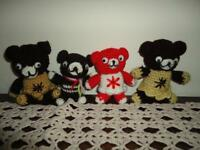 OOAK Handmade Knitted Teddy Bears Lot of 4