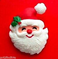 Hallmark PIN Christmas Vintage SANTA CLAUS FACE Holly HAT Holiday Brooch