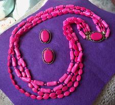 Vintage Pink 4 Strand Necklace & Earring Set