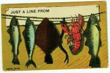 """EARLY DONALD MCGILL COMIC POSTCARD """" JUST A LINE FROM """" LOBSTER & FISH USED 1912"""