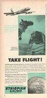 1965 Original Advertising' Vintage Ethiopian Airlines Cairo Egitto