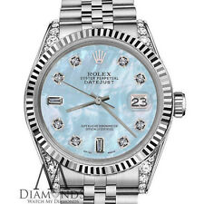 Woman's Rolex 36mm Datejust Baby Blue MOP Mother Of Pearl 8+2 Diamond Dial Watch