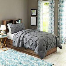 Twin/Twin XL Pintuck Bedding Comforter Mini Set Charcoal New Free Shipping