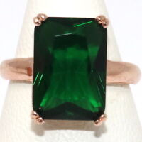 Vintage Antique Green Emerald Ring Women Jewelry Rose Gold Plated Size 5 6 7 8 9