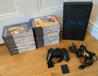 Sony Playstation 2 Phat Black PS2 Console 25 Games Bundle - Free P&P