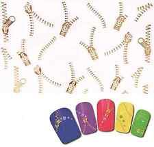 Manucure nailart stickers autocollants ongles: fermetures éclair zip dorés