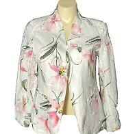 NEW Womens LARGE Linen Jacket PECK PECK White Pink Floral Pocket Blazer NWT $89