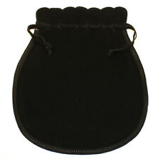 velvet jewellery pouch, oyster shape with drawstring, large black